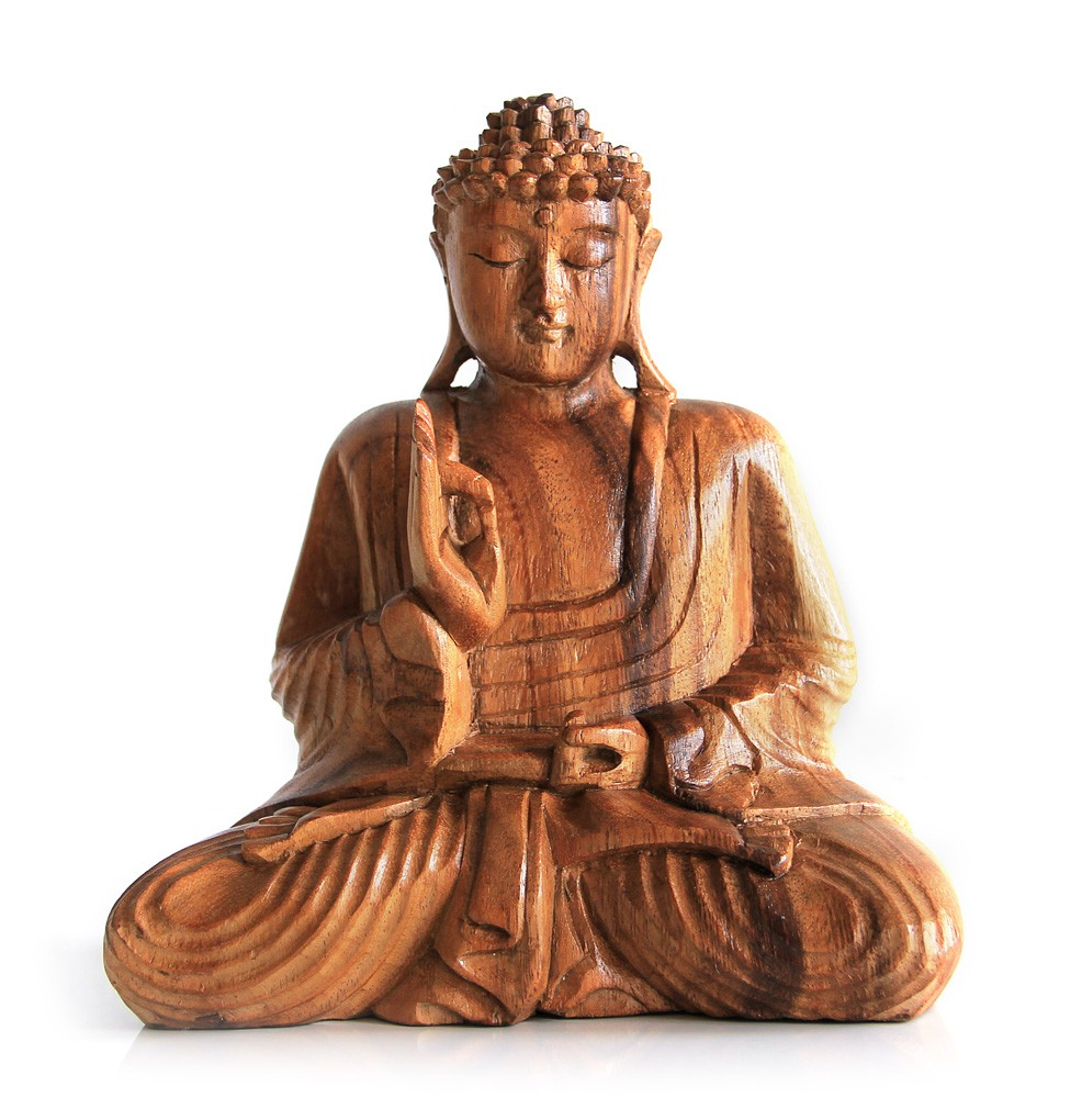 deko figur buddha figur amoghasiddhi sitzend statue aus holz h he 20 cm gro holzfigur. Black Bedroom Furniture Sets. Home Design Ideas