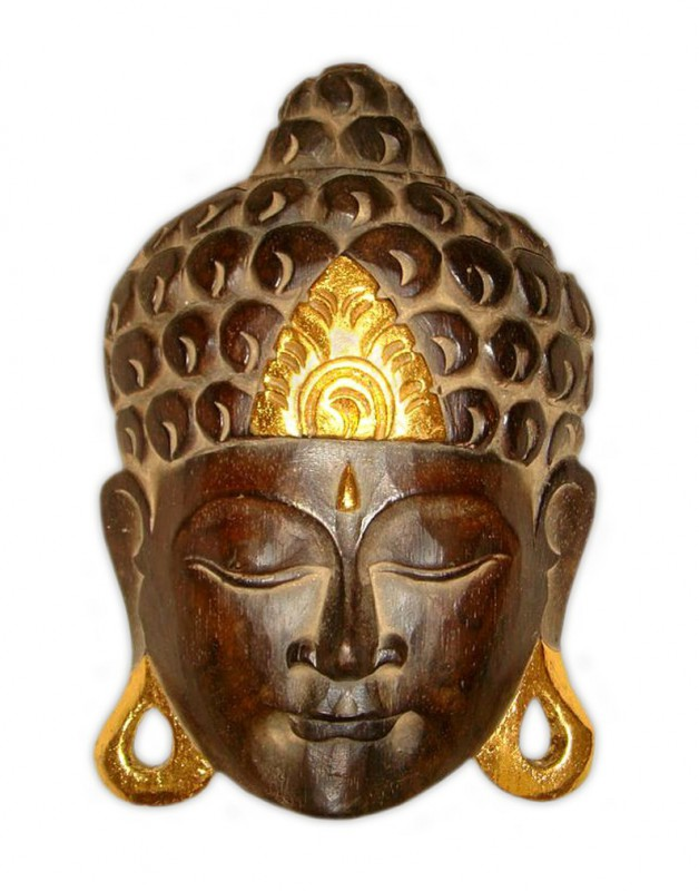 maske holzmaske buddha abbild wanddekoration relief aus holz braun gold buddhakopf h he 25 cm. Black Bedroom Furniture Sets. Home Design Ideas