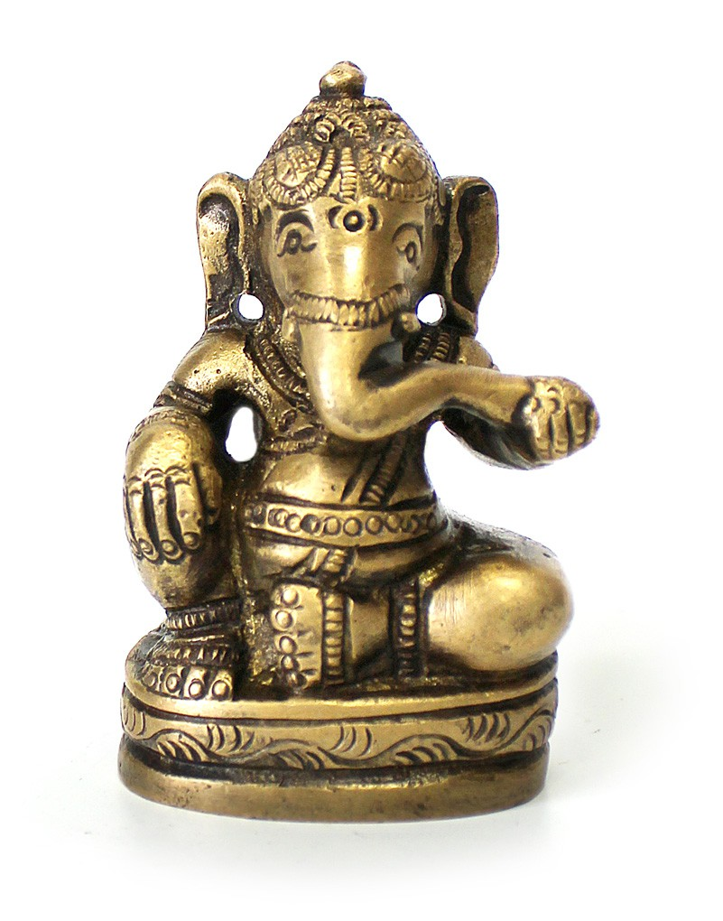 deko figur ganesha figur zweiarmig sitzend statue aus messing h he 6 5 cm hindu gott buddha. Black Bedroom Furniture Sets. Home Design Ideas