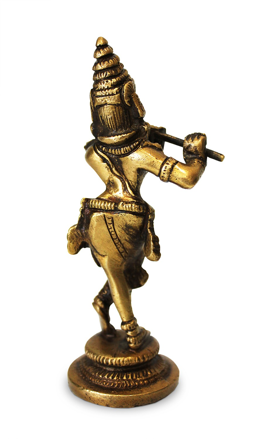 deko figur krishna figur mit bambusfl te statue aus. Black Bedroom Furniture Sets. Home Design Ideas