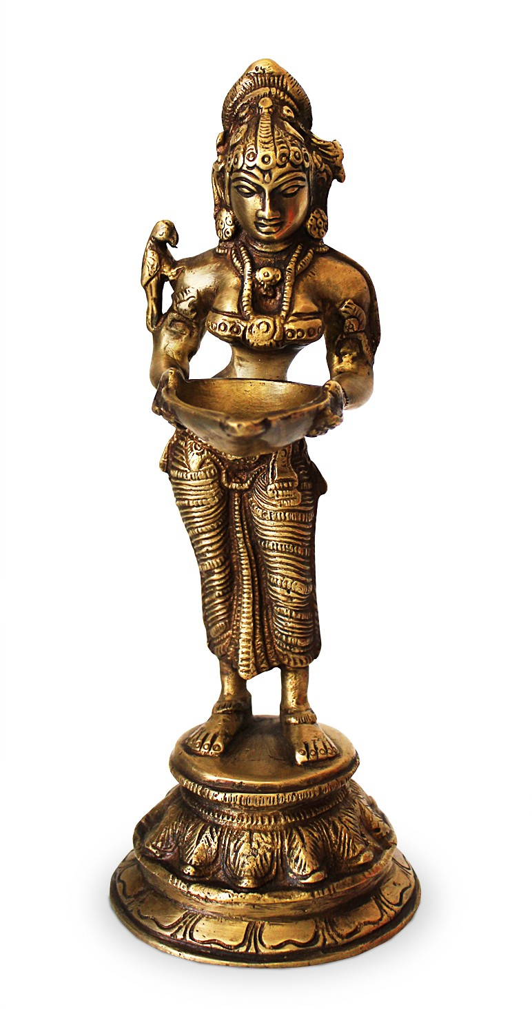 deko figur lakshmi figur stehend statue aus messing. Black Bedroom Furniture Sets. Home Design Ideas