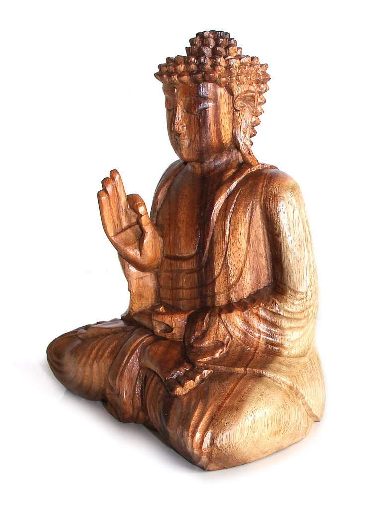 buddha holzfigur statue amoghasiddhi sitzend figur aus holz h he 50 cm gro asiatische. Black Bedroom Furniture Sets. Home Design Ideas
